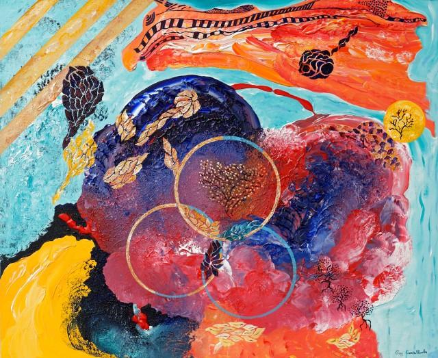 """""""Les Siamois""""  Acrylique sur toile de lin - 100 x 120 cm"""