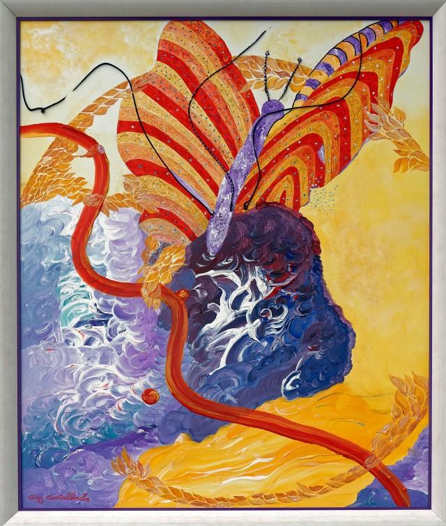 """""""Élégance""""  Acrylique sur toile de lin - 120 x 100 cm"""