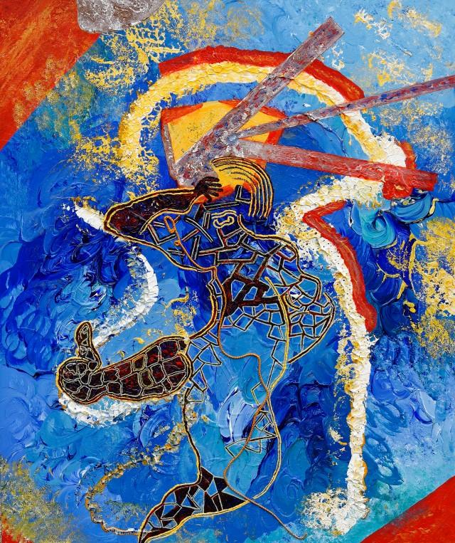 """""""L'homme qui danse""""  Acrylique sur toile de lin - 120 x 100 cm"""